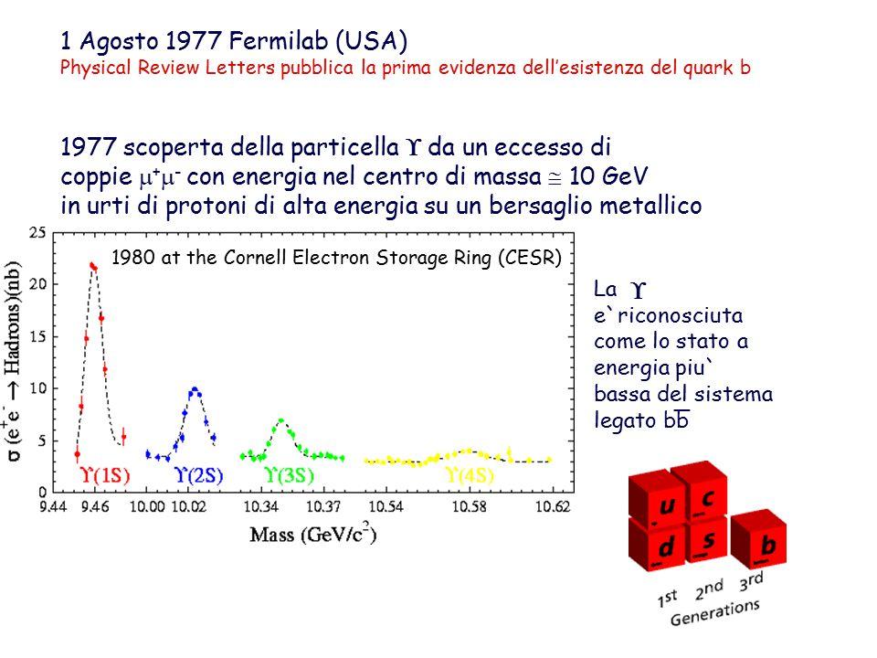 1977 scoperta della particella  da un eccesso di