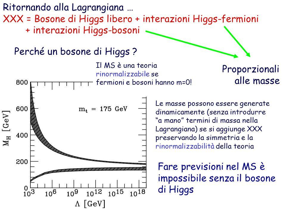 Ritornando alla Lagrangiana …