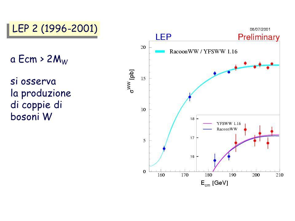 LEP 2 (1996-2001) a Ecm > 2MW si osserva la produzione di coppie di bosoni W