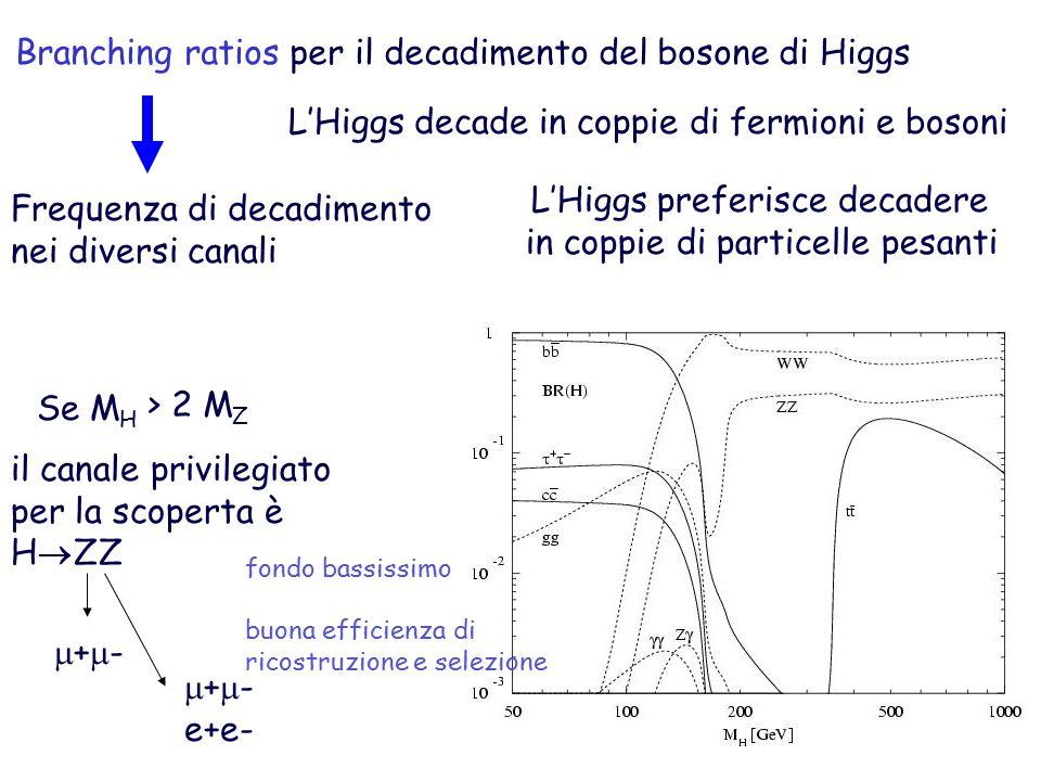 Branching ratios per il decadimento del bosone di Higgs