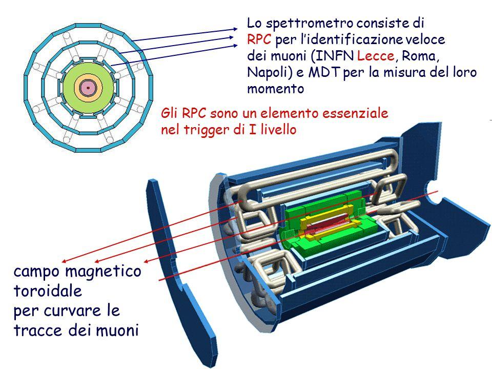 campo magnetico toroidale per curvare le tracce dei muoni