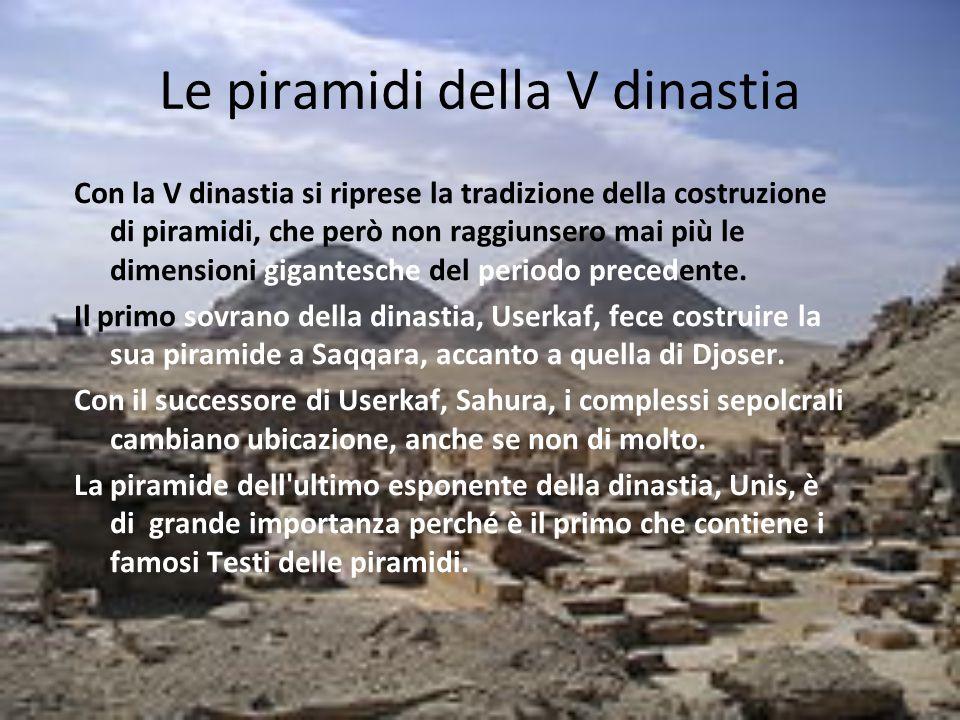 Le piramidi della V dinastia