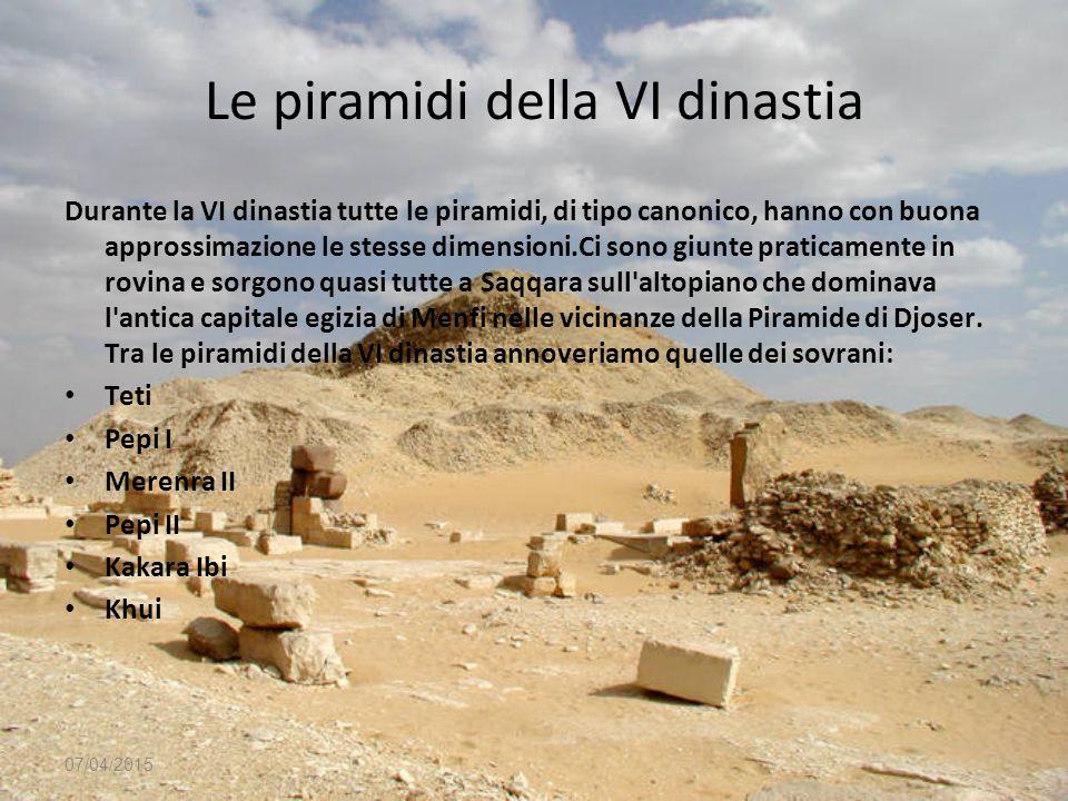 Le piramidi della VI dinastia