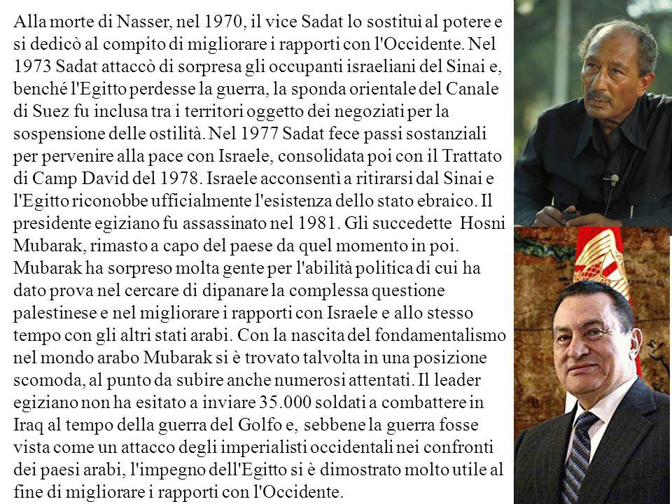 Alla morte di Nasser, nel 1970, il vice Sadat lo sostituì al potere e si dedicò al compito di migliorare i rapporti con l Occidente.