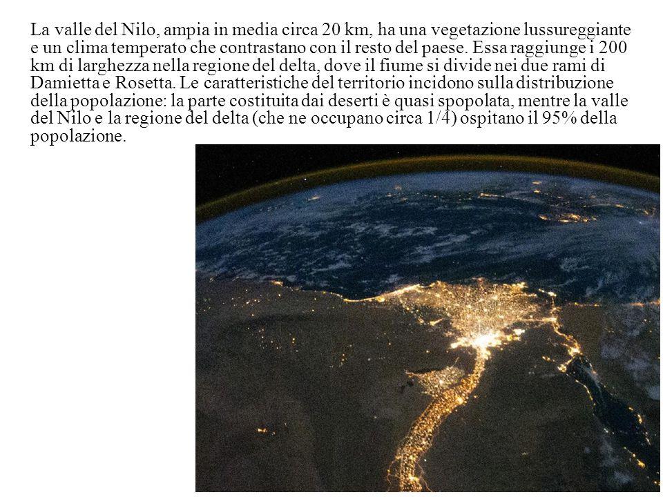 La valle del Nilo, ampia in media circa 20 km, ha una vegetazione lussureggiante e un clima temperato che contrastano con il resto del paese.