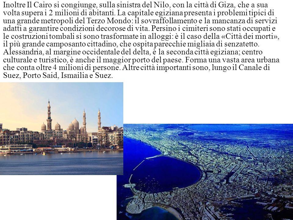 Inoltre Il Cairo si congiunge, sulla sinistra del Nilo, con la città di Giza, che a sua volta supera i 2 milioni di abitanti.