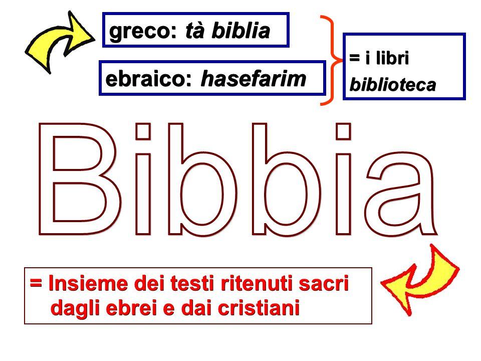 greco: tà biblia ebraico: hasefarim