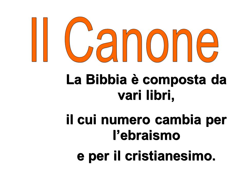 La Bibbia è composta da vari libri,