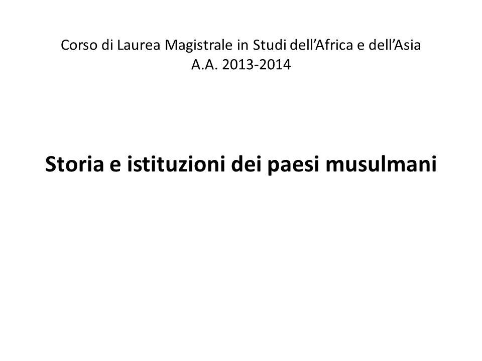 Storia e istituzioni dei paesi musulmani