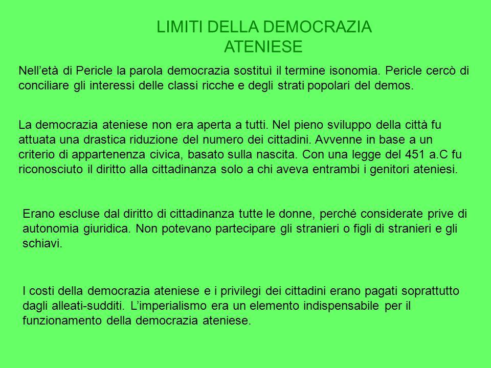 LIMITI DELLA DEMOCRAZIA ATENIESE