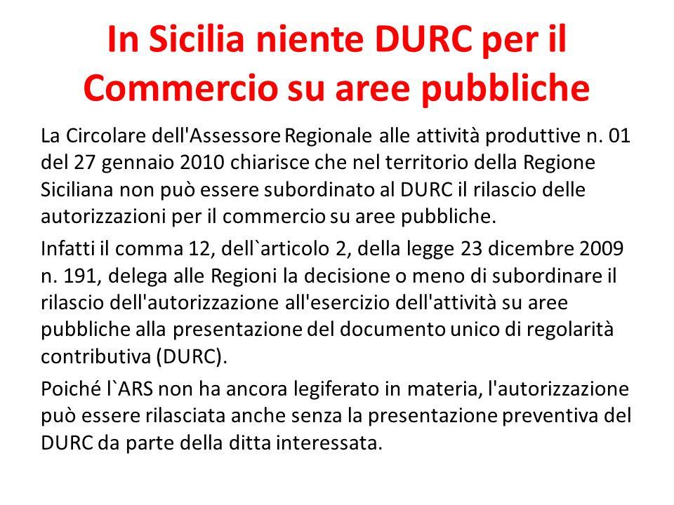 In Sicilia niente DURC per il Commercio su aree pubbliche