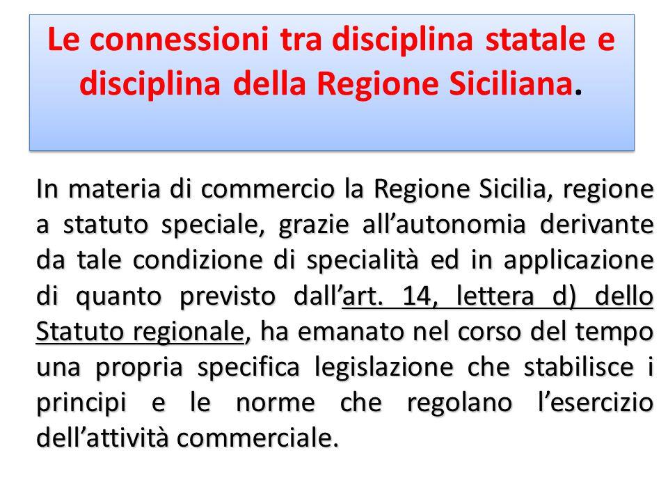 Le connessioni tra disciplina statale e disciplina della Regione Siciliana.