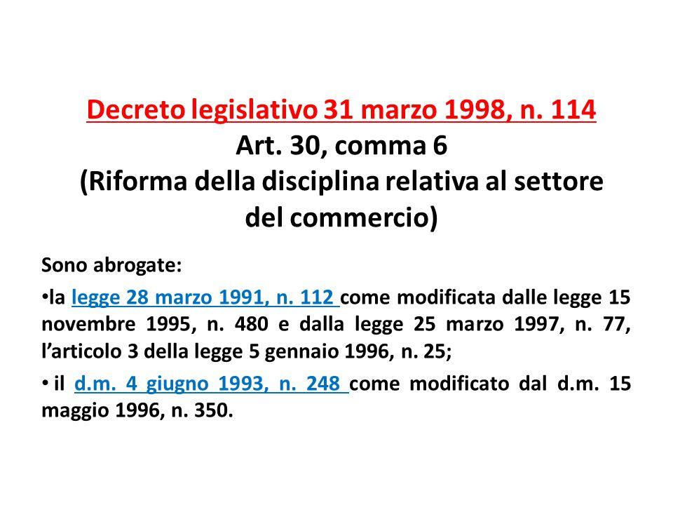 Decreto legislativo 31 marzo 1998, n. 114 Art