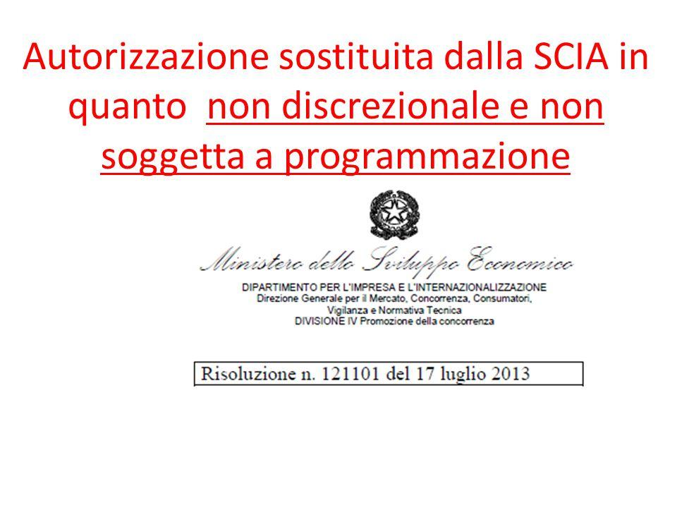Autorizzazione sostituita dalla SCIA in quanto non discrezionale e non soggetta a programmazione