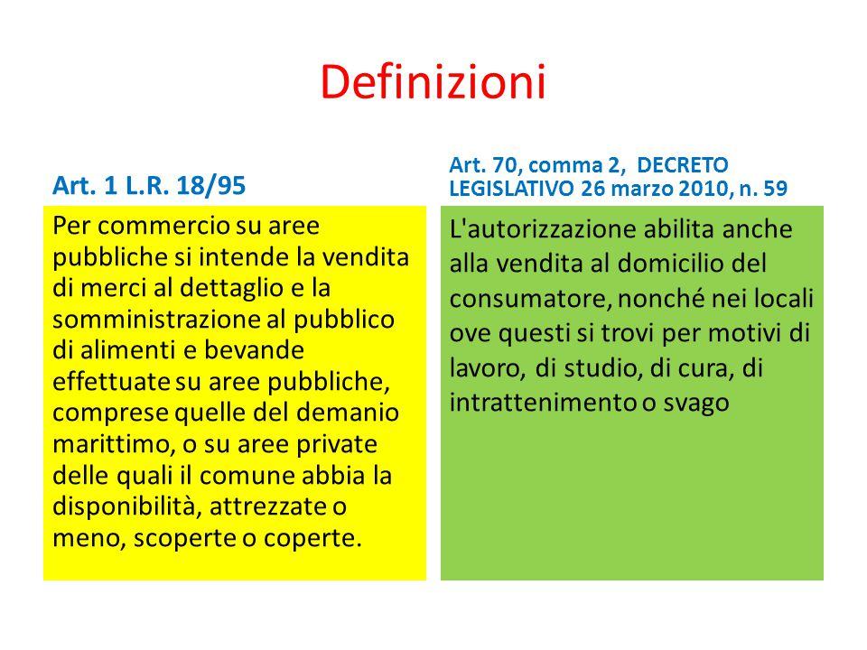 Definizioni Art. 1 L.R. 18/95. Art. 70, comma 2, DECRETO LEGISLATIVO 26 marzo 2010, n. 59.