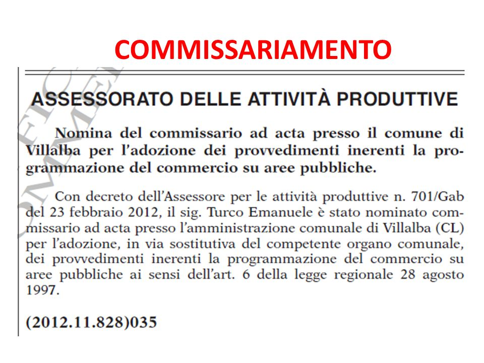 COMMISSARIAMENTO