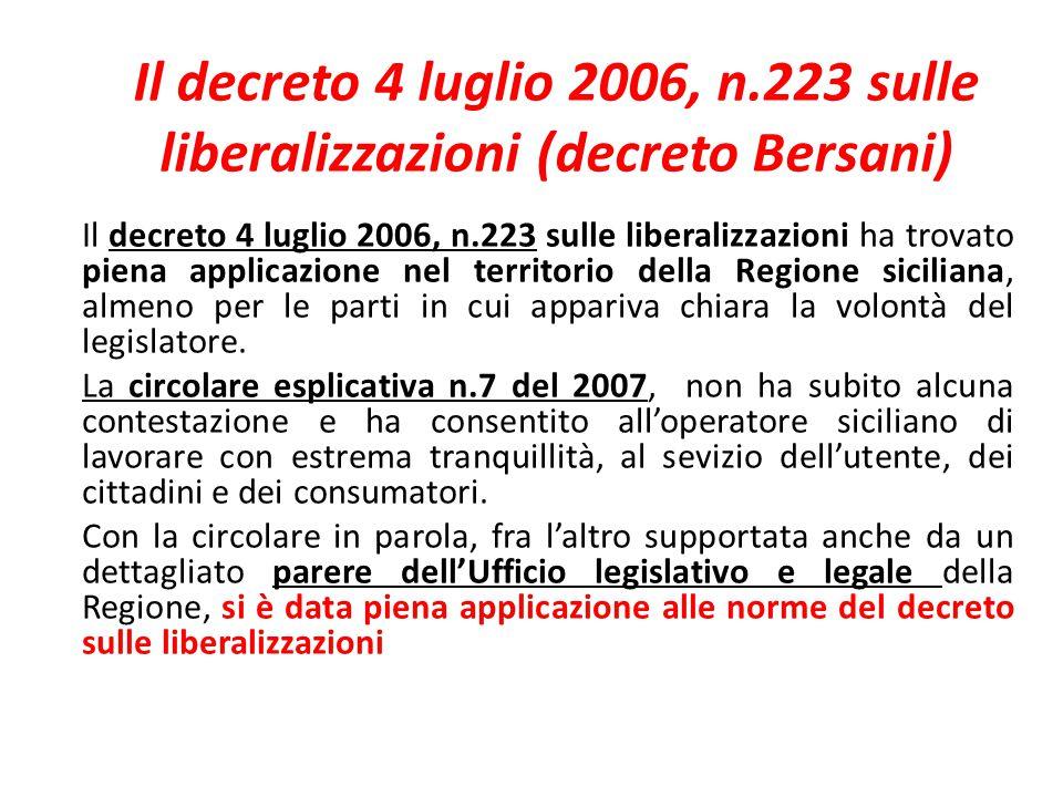 Il decreto 4 luglio 2006, n.223 sulle liberalizzazioni (decreto Bersani)