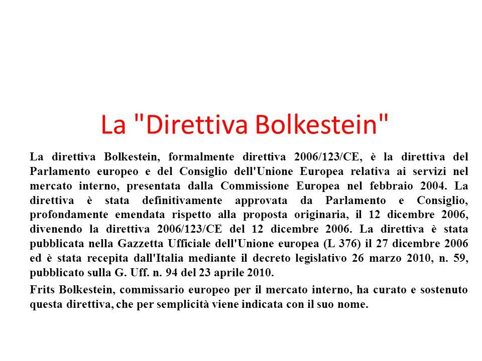La Direttiva Bolkestein