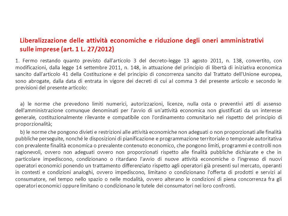 Liberalizzazione delle attività economiche e riduzione degli oneri amministrativi sulle imprese (art. 1 L. 27/2012)