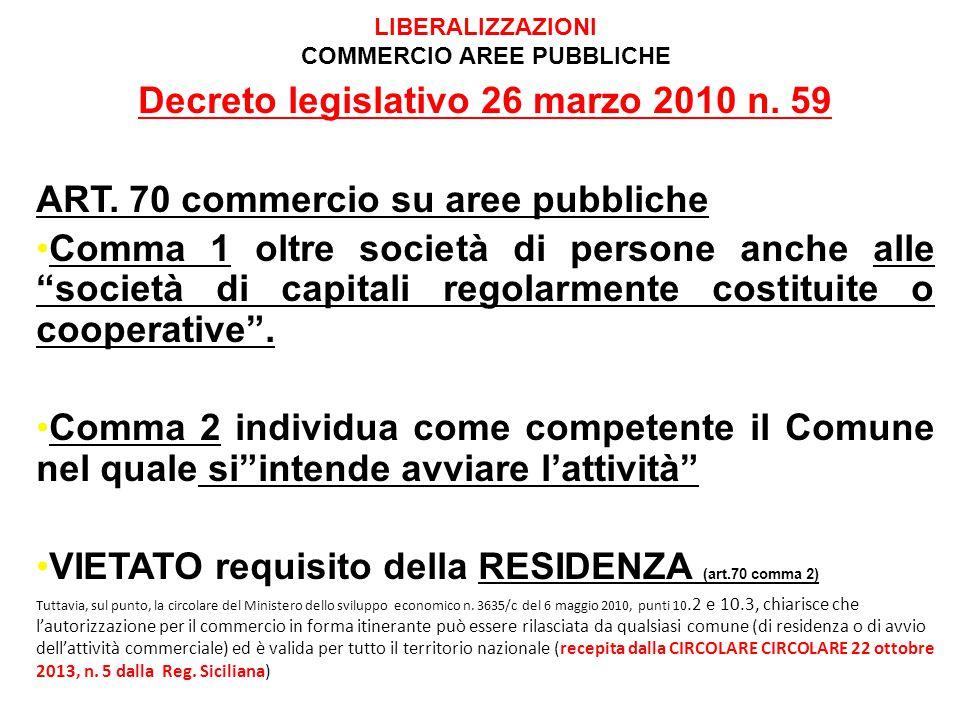 LIBERALIZZAZIONI COMMERCIO AREE PUBBLICHE