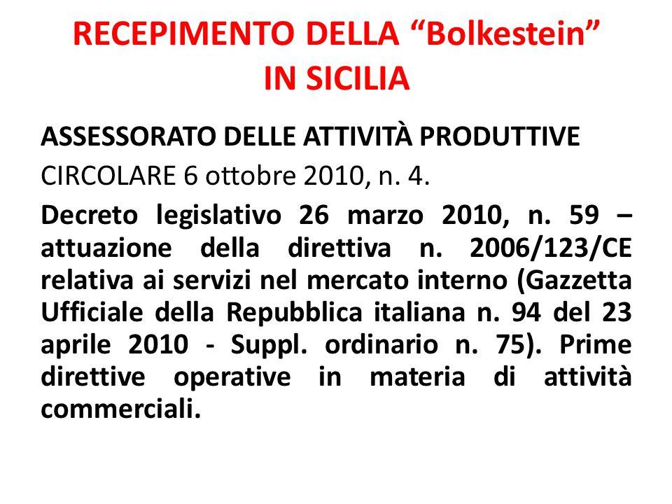 RECEPIMENTO DELLA Bolkestein IN SICILIA