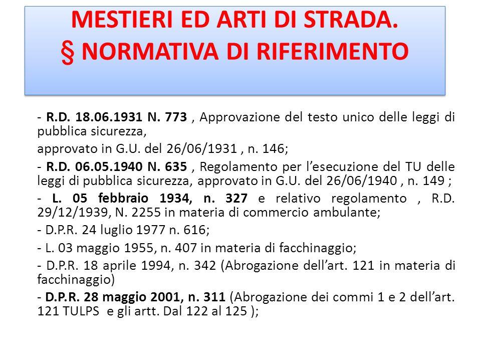 MESTIERI ED ARTI DI STRADA. § NORMATIVA DI RIFERIMENTO