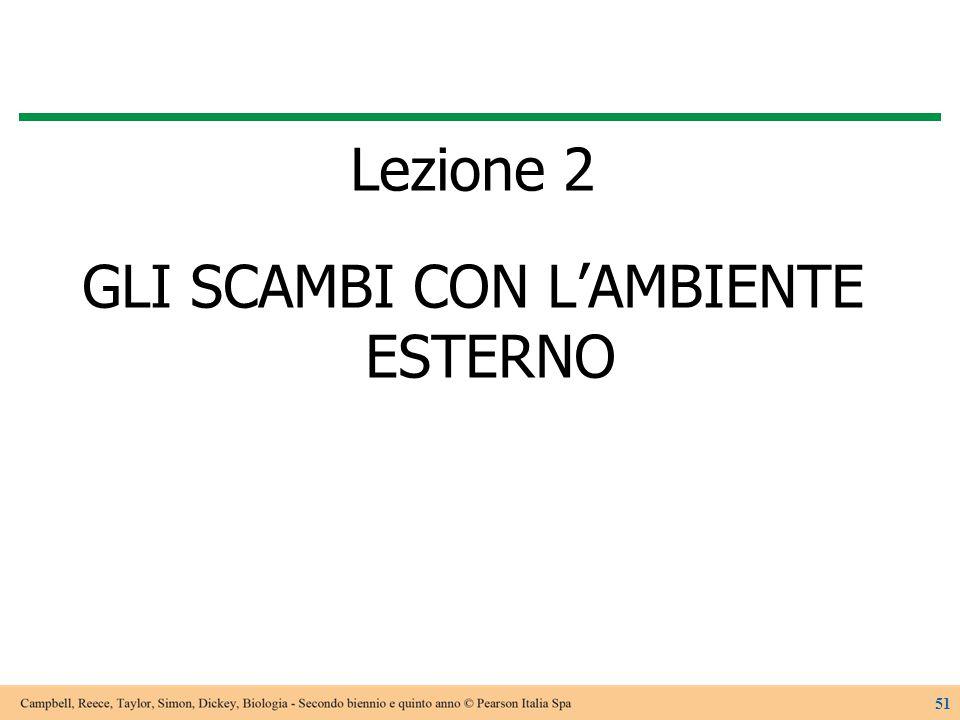 Lezione 2 GLI SCAMBI CON L'AMBIENTE ESTERNO