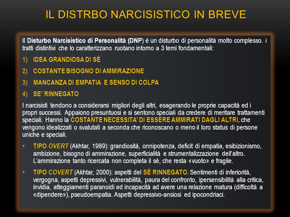 IL DISTRBO NARCISISTICO IN BREVE