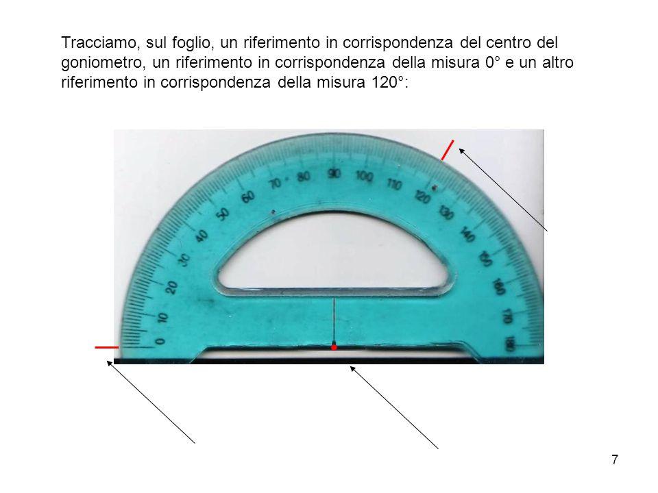 Tracciamo, sul foglio, un riferimento in corrispondenza del centro del goniometro, un riferimento in corrispondenza della misura 0° e un altro riferimento in corrispondenza della misura 120°: