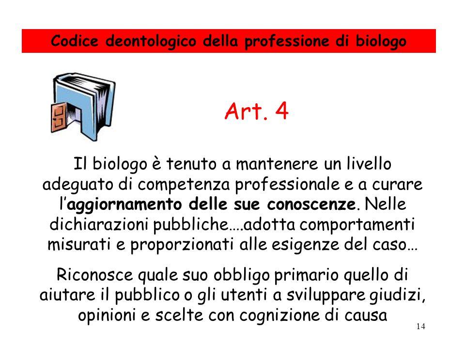Codice deontologico della professione di biologo