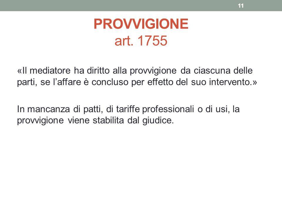 PROVVIGIONE art. 1755
