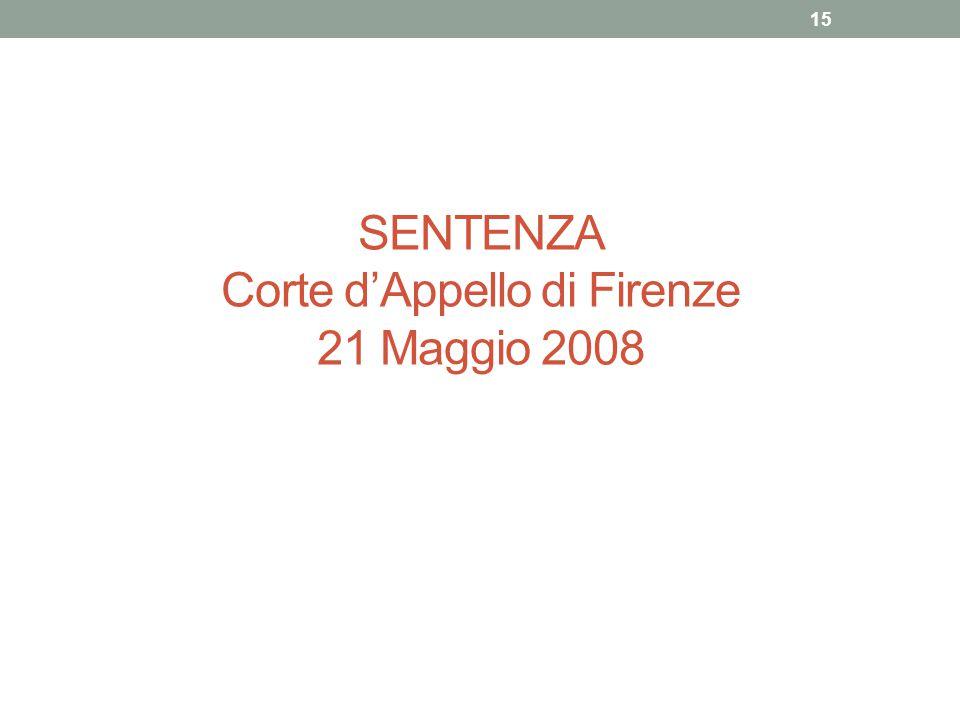 SENTENZA Corte d'Appello di Firenze 21 Maggio 2008