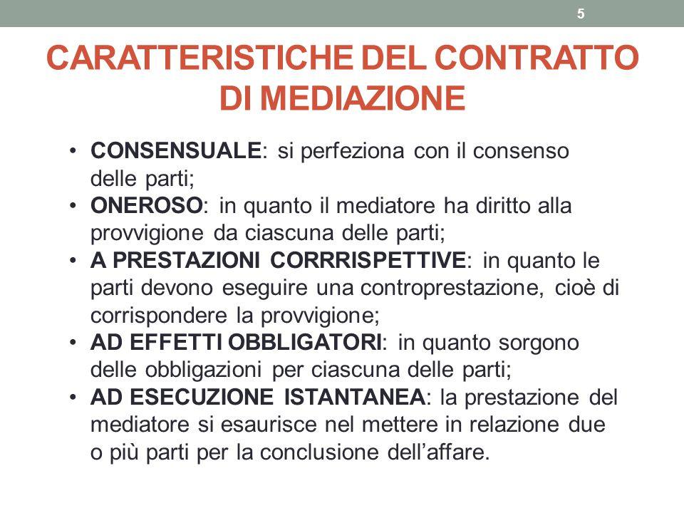 CARATTERISTICHE DEL CONTRATTO DI MEDIAZIONE