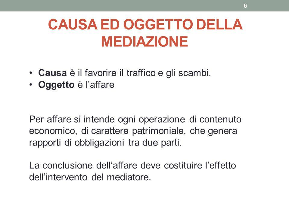 CAUSA ED OGGETTO DELLA MEDIAZIONE