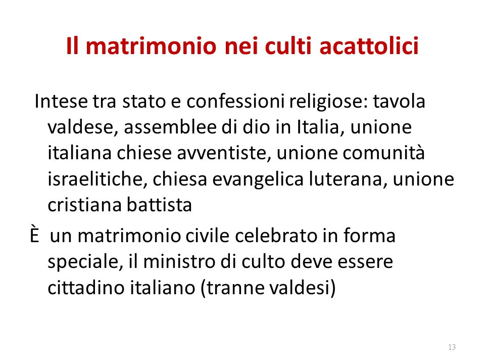 Il matrimonio nei culti acattolici