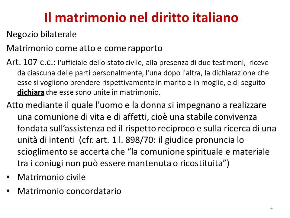 Il matrimonio nel diritto italiano