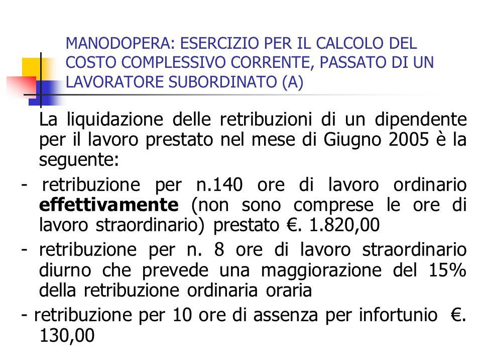 - retribuzione per 10 ore di assenza per infortunio €. 130,00