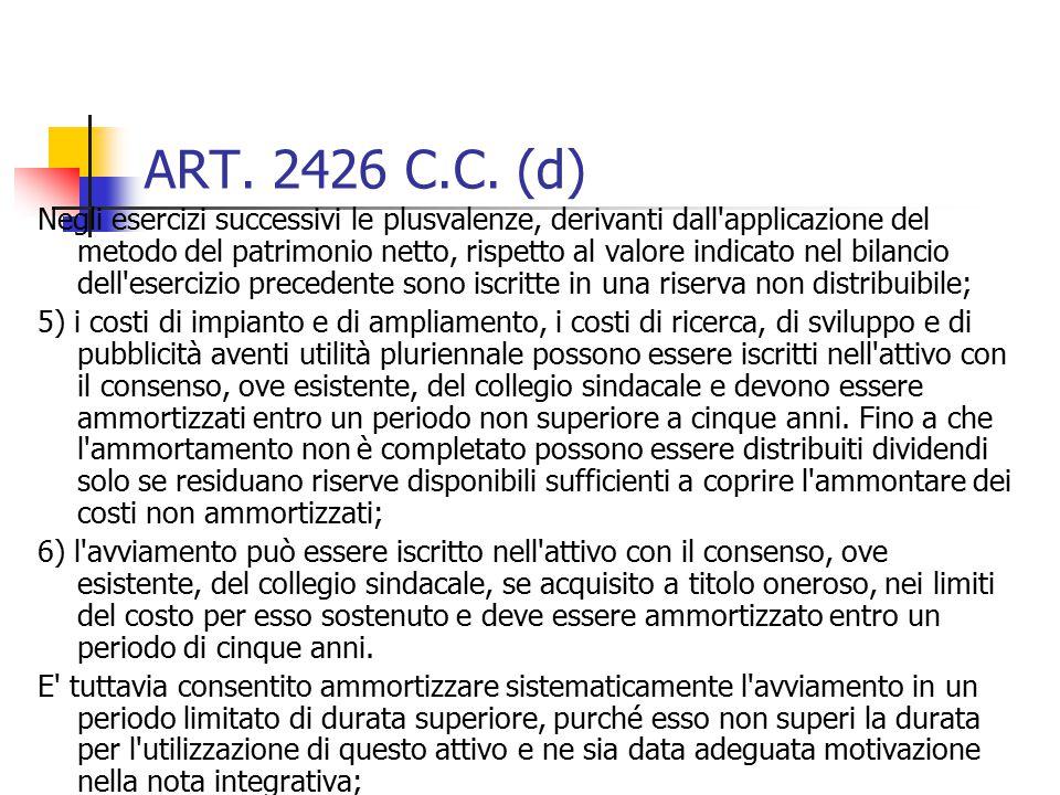 ART. 2426 C.C. (d)