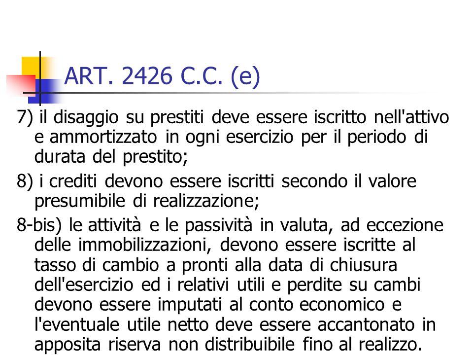 ART. 2426 C.C. (e)