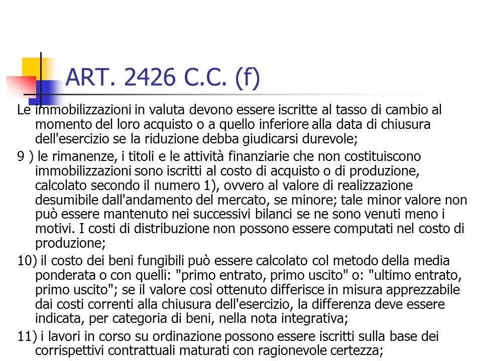 ART. 2426 C.C. (f)