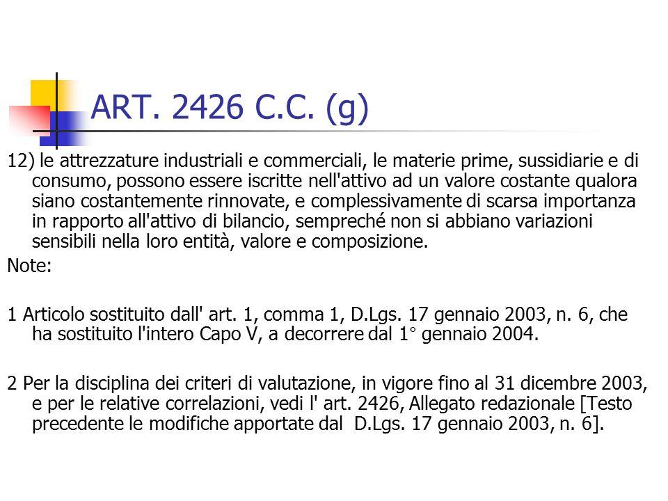 ART. 2426 C.C. (g)
