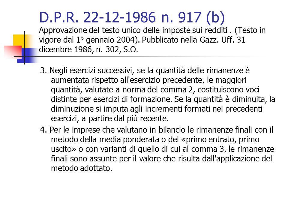 D.P.R. 22-12-1986 n. 917 (b) Approvazione del testo unico delle imposte sui redditi . (Testo in vigore dal 1° gennaio 2004). Pubblicato nella Gazz. Uff. 31 dicembre 1986, n. 302, S.O.