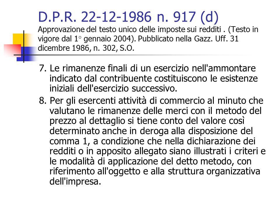 D.P.R. 22-12-1986 n. 917 (d) Approvazione del testo unico delle imposte sui redditi . (Testo in vigore dal 1° gennaio 2004). Pubblicato nella Gazz. Uff. 31 dicembre 1986, n. 302, S.O.