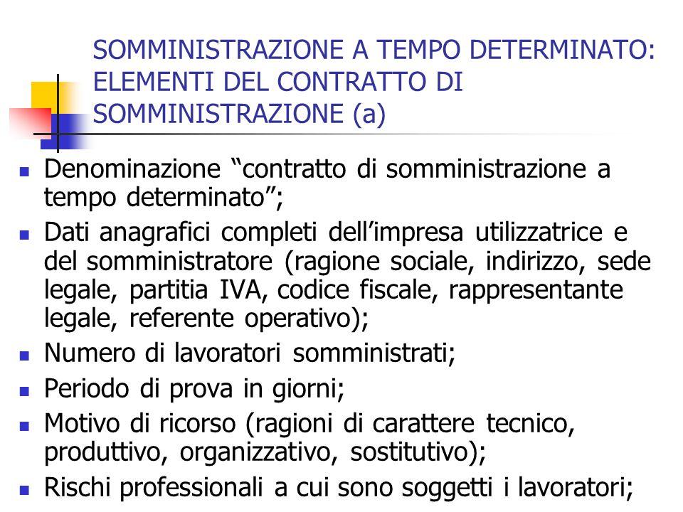 SOMMINISTRAZIONE A TEMPO DETERMINATO: ELEMENTI DEL CONTRATTO DI SOMMINISTRAZIONE (a)