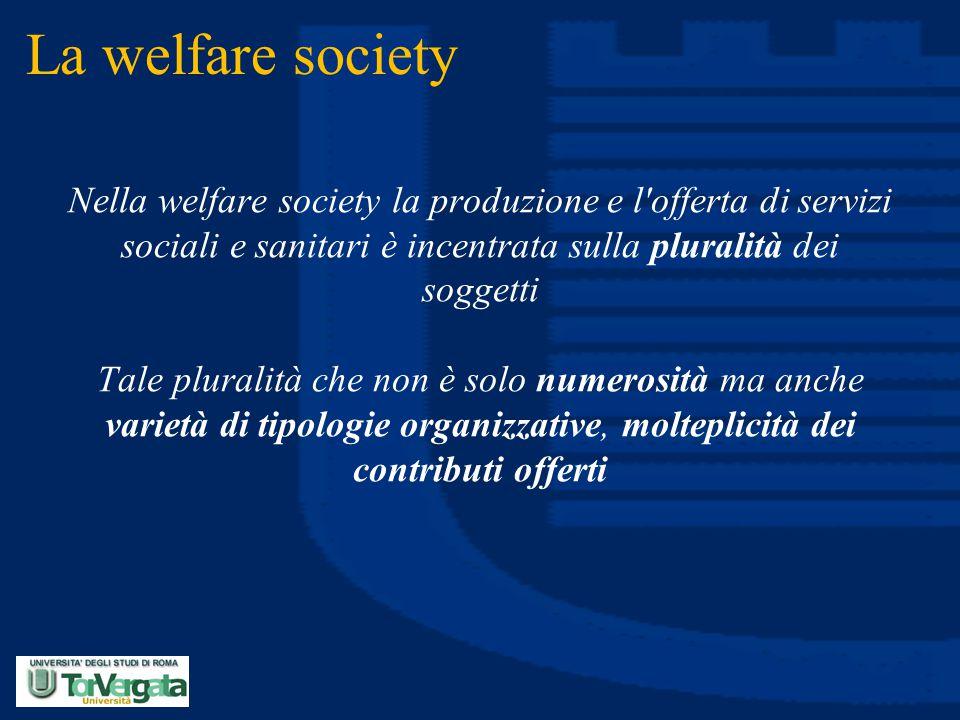 La welfare society Nella welfare society la produzione e l offerta di servizi sociali e sanitari è incentrata sulla pluralità dei soggetti.