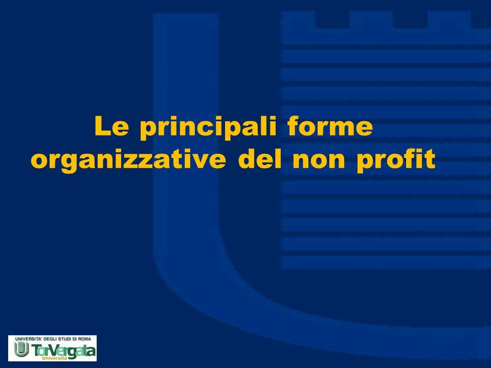 Le principali forme organizzative del non profit