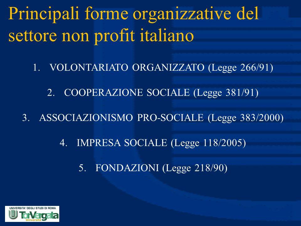 Principali forme organizzative del settore non profit italiano
