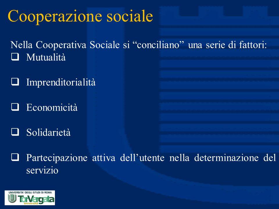 Cooperazione sociale Nella Cooperativa Sociale si conciliano una serie di fattori: Mutualità. Imprenditorialità.