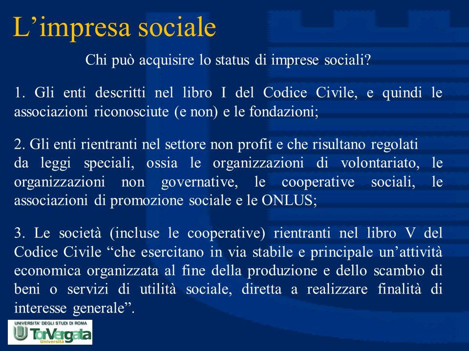 Chi può acquisire lo status di imprese sociali