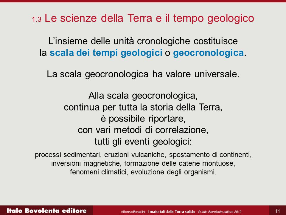 La scala geocronologica ha valore universale.